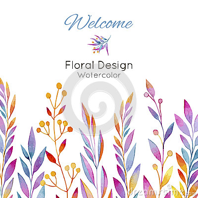 Free Card With Plants In Watercolor Stock Images - 64422474