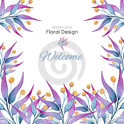 Free Card With Plants In Watercolor Royalty Free Stock Photography - 64422487