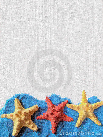 Free Card With Three Starfishes. Royalty Free Stock Photo - 5495475