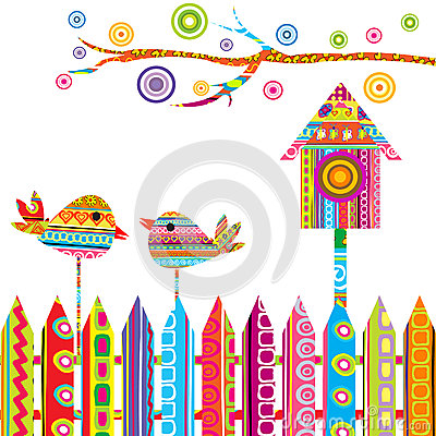Free Card With Two Birds On A Fence And Birdhouse Stock Images - 25684604