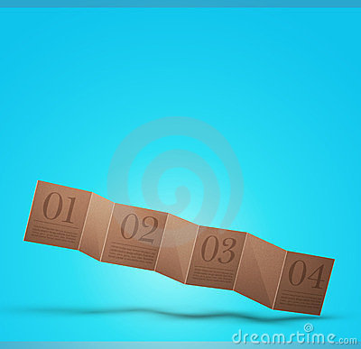 Cardboard banner on a blue background,