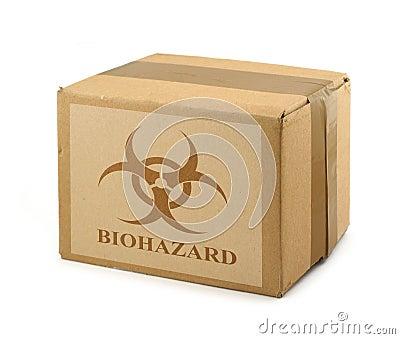 Cardboard box with Biohazard Symbol #2