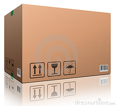 Cardboard box blank copy space