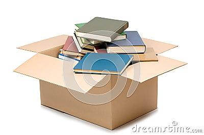 Cardboard box and books