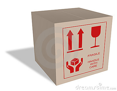 Cardboard box with fragile content