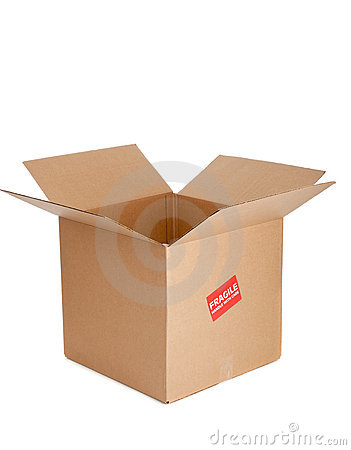 A cardboard box with fragile sticker on white