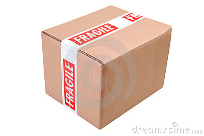 Cardboard box and fragile tape