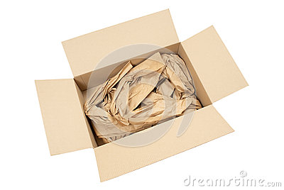Cardboard box with packaging