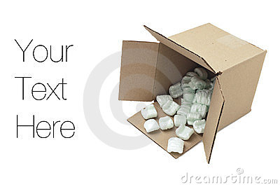 Cardboard box with styrofoam peanuts
