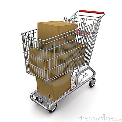 Cardboard box in the trolley