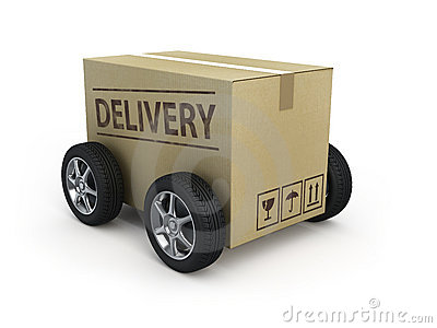 Cardboard box with wheels