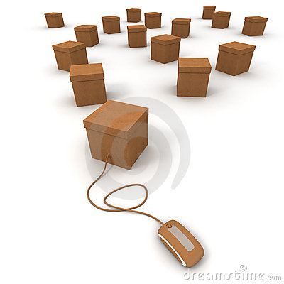 Free Cardboard Boxes And Internet Connexion Stock Image - 10741081
