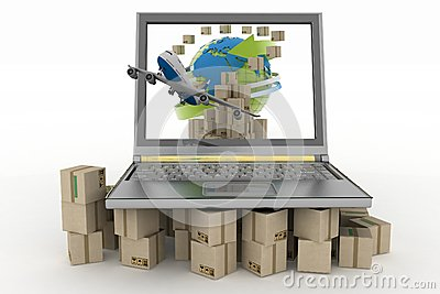 Cardboard boxes around the globe on a laptop screen and airplane