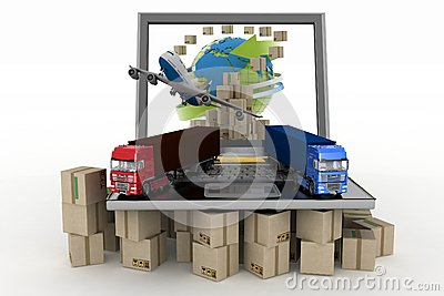 Cardboard boxes around globe on laptop screen, plane and two trucks