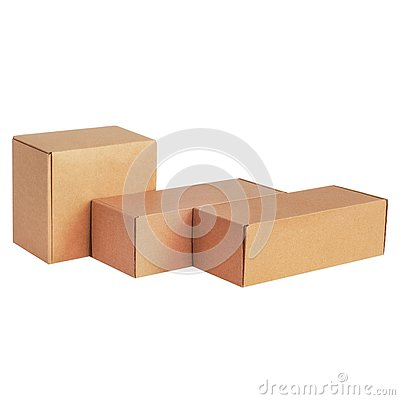 Free Cardboard Boxes For Goods On A White Background. Different Size. Isolated On White Background Stock Images - 139539594