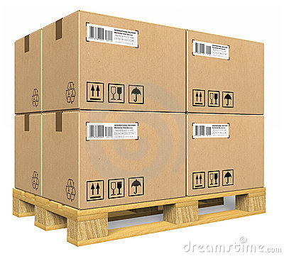 Free Cardboard Boxes On Pallet Stock Image - 17358351