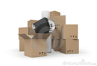 Cardboard Boxes with person Which hold computer