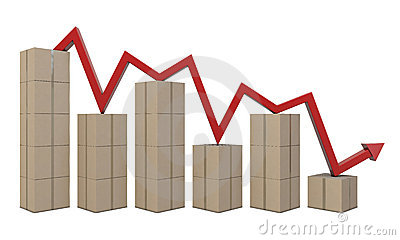 Cardboard boxes and red line like a chart