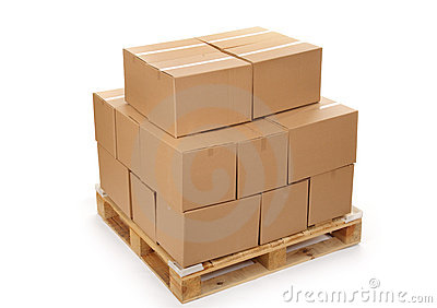 Cardboard boxes on wooden palette