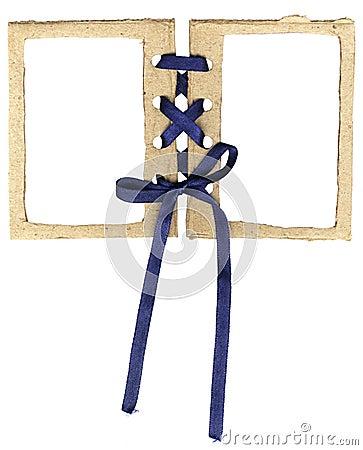 Cardboard double frame for photos with a bow