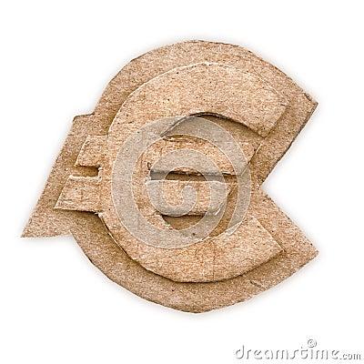 Cardboard euro sign