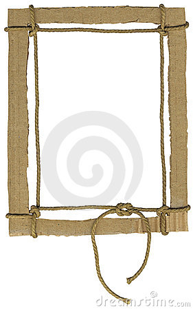 cardboard frame for photos with a rope bow royalty free stock photo image 7391555