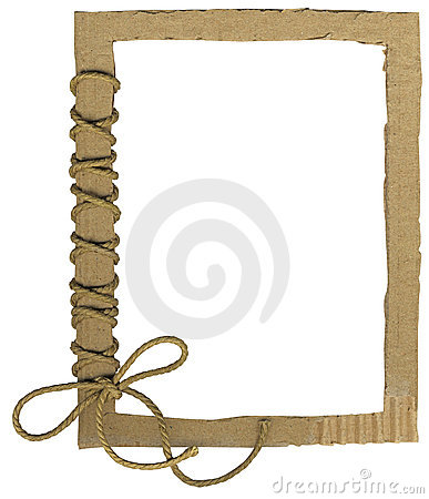 Cardboard frame for photos with a rope bow