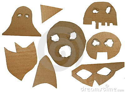 Cardboard mask isolated