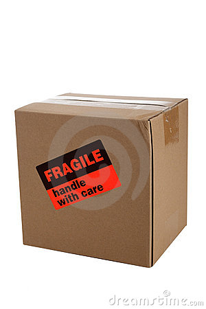 Cardboard Moving Box With A Fragile Sticker Royalty Free