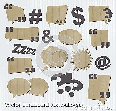 Cardboard text balloons