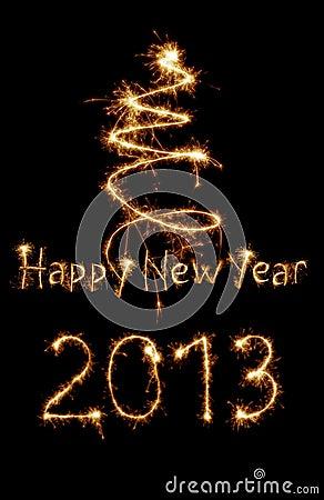 Cardez pendant l année 2013 écrite avec des étincelles