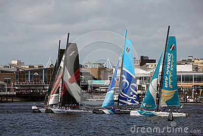 Cardiff Bay Extreme Sailing Race 2012 Editorial Stock Image