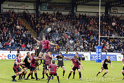Cardiff Blues Line-in Editorial Stock Image