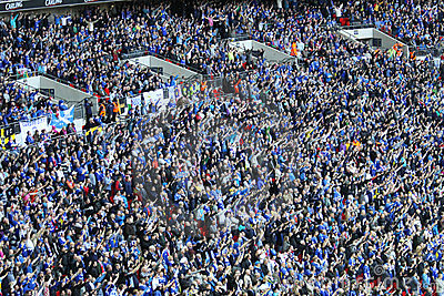 Cardiff City Fans Celebrating A Goal Royalty Free Stock Images - Image: 23563669