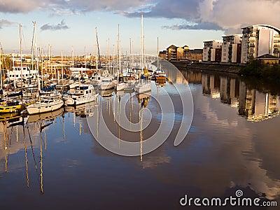 Cardiff Sailing Boat Marina at Sunset