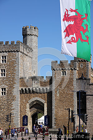Cardiff old town wall Editorial Image