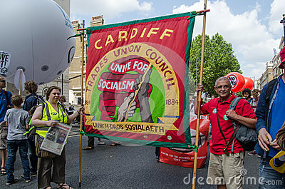 Cardiff Union Banner, protest march Editorial Photography
