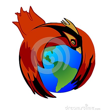 The Cardinal bird holds Mother Earth to protect