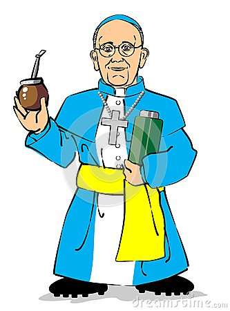 Pope Francis I drinking a mate Editorial Stock Image