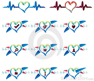 Cardio emblem icons set website
