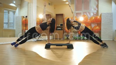 cardio step girl doing exercise to lose weight and slim