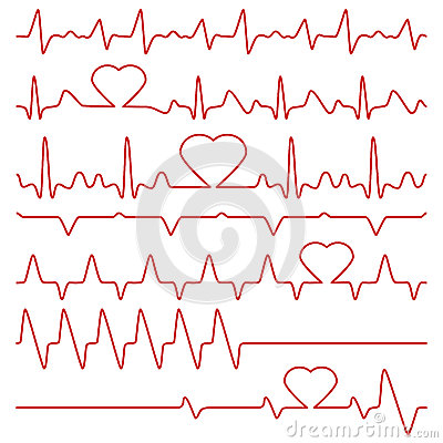 Free Cardiogram And Pulse Vector Symbols With Heart Shape Royalty Free Stock Photo - 91639255