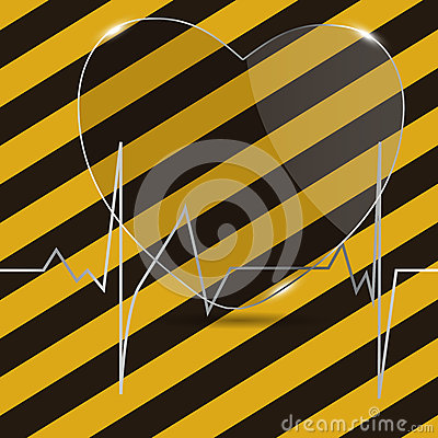 Cardiogram com coração. Ilustração do vetor.