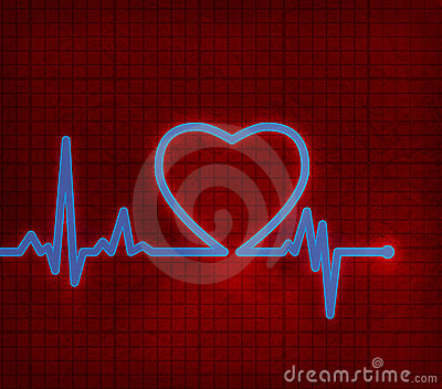 Cardiogram del cuore con cuore su esso