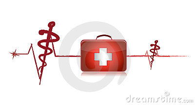 Cardiogram with the first-aid set