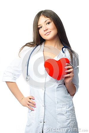 Cardiologist with a heart shaped pillow