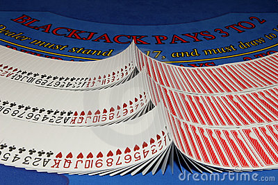 Cards on blackjack table in casino