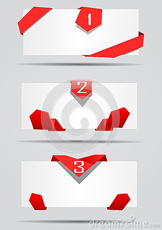Cards with red ribbons vector