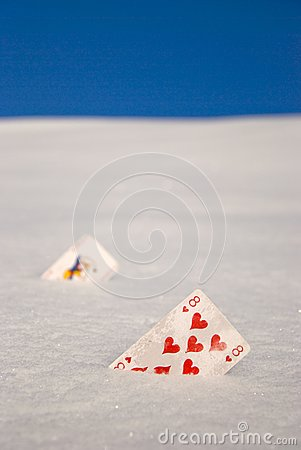 Cards on snow