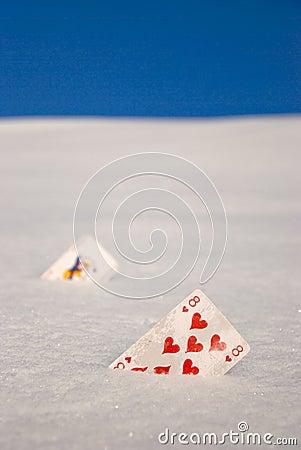 Cards on snow